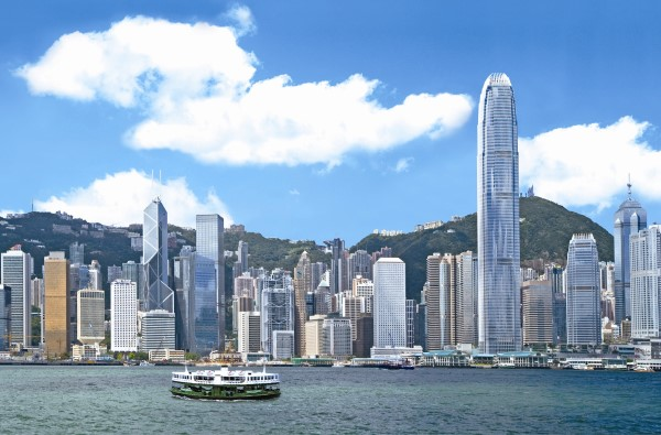 HK skyline with ferry