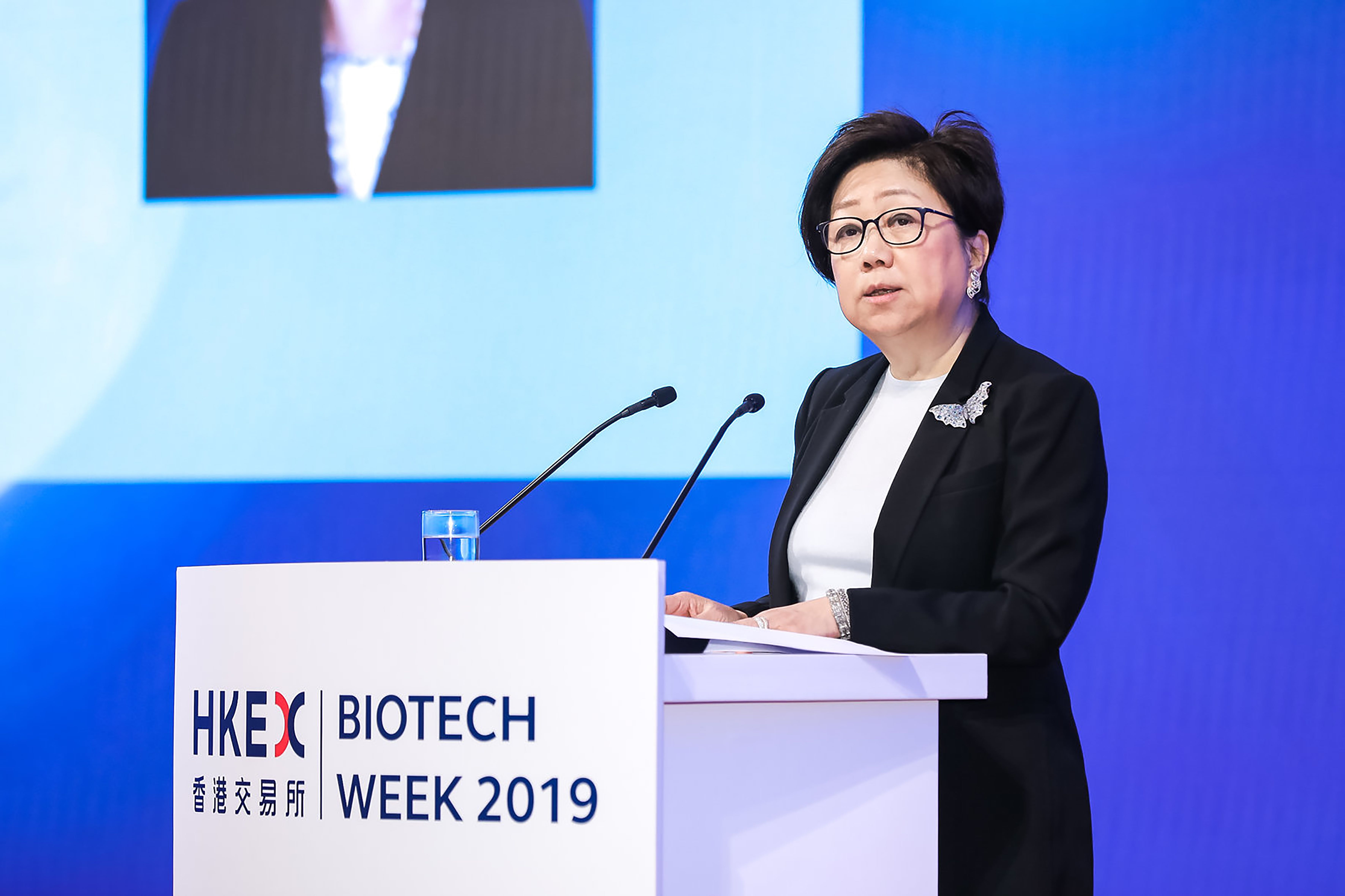 HKEX Chairman Laura M Cha welcomes delegates and guests to the second HKEX Biotech Summit on 29 May 2019