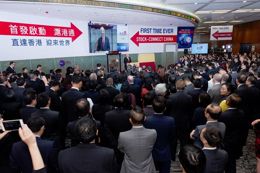 Hundreds of guests witness the historic launch of Shanghai-Hong Kong Stock Connect on 17 November 2014.