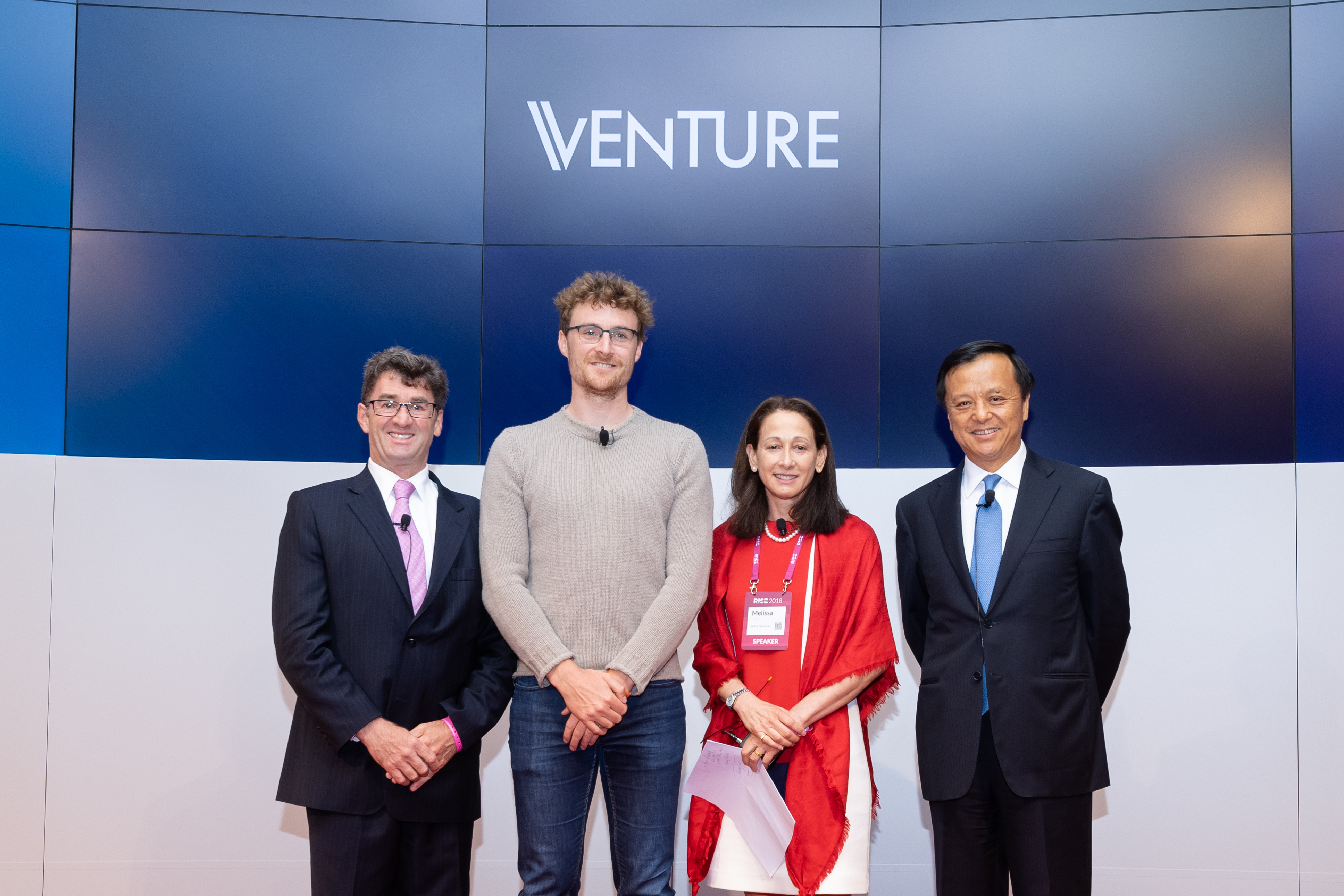 "HKEX, the Hong Kong Venture Capital and Private Equity Association (HKVCA) and Web Summit (RISE) jointly hosted a conference on venture capital investment in Hong Kong titled ""Venture"" on 9 July 2018.  (From left) Eric Mason, Chairman, HKVCA; Paddy Cosgrave, CEO, Web Summit, Melissa Guzy, Executive Director, HKVCA; and HKEX Chief Executive Charles Li welcome the guests of the event."